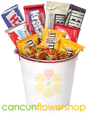 Assortment of chocolates in a metal bucket