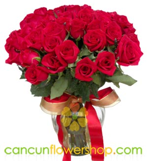 48 Red roses in a glass vase